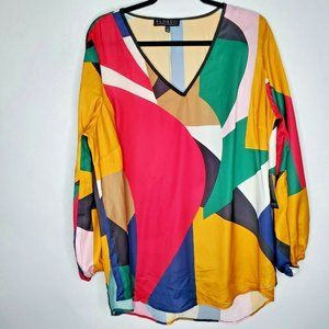 NEW Eloquii 18 multi color geometric blouse top